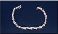 9ct Gold Diamond Bracelet. Set with round