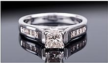 18ct White Gold Set, Excellent Princess Cut