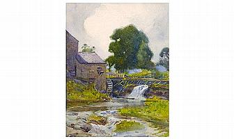 Fred Balshaw Water Mill watercolour, signed, 11½