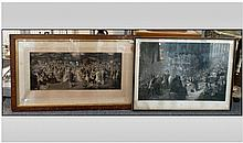 Two Large Victorian Black & White Engravings, one