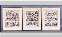Set Of 3 Antique Black & White Prints Of South