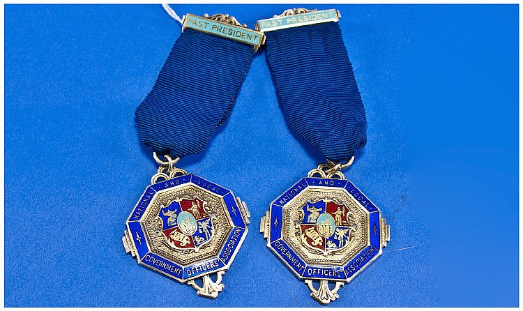 Pair Of Silver Enamelled Medals National & Local