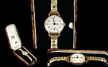 Ladies Certina 18 Gold Cased Wrist Watch with Attached Expanding Gold Plated Bracelet. Features - White Porcelain Dial, Secondary Dial, Jewells - Swiss Movement, Working and Wonderful Condition, With Period Box.