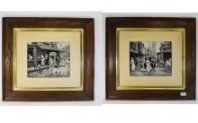 A Fine Pair of Victorian Black and White Prints on Silk, Within Period Oak