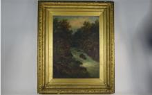 Victorian Framed Oil On Canvas Depicting A Woodland Setting With Stream And
