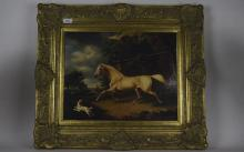 Modern Lacquered Print, Horse And Dog At The Side of An Estate, Moulded Swe