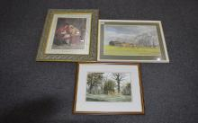 Collection of 3 framed pictures comprising watercolour of Longridge Preston