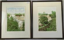 Pair Of Jan Dingle Limited Edition Framed Prints Titled Anglers Edge And Fi
