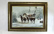 Keith Sutton 1924 - 1991 Winter Scene Travellers Camp with Figures and Hors
