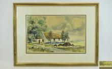 Watercolour Painting by Rowland Hill. Rural Scene showing cottages at Parkm