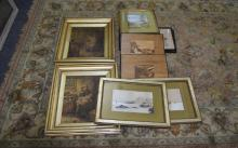 A Collection of Assorted Prints and Plaques with decorative frames. Landsca