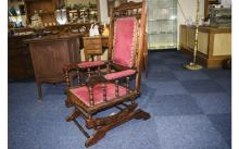 Antique - Solid Oak Rocking Chair with Upholstered Back, Seat and Spindle T