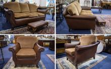 A Very Fine Quality Late Victorian 3 Piece Tan Hide Leather Suite. This Sui