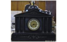 A 19th Century Inlaid Black Slate and Marble Mantel Clock, with Six Columns