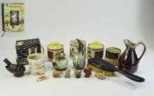 Box of miscellaneous consisting Wade Whimsies, Whinnie the Pooh Book, vinta