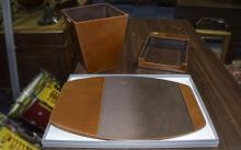 Leather 3 Piece Desk Set Comprising Waste Paper Bin, paper tidy and desk co