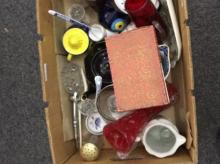 Box Of Miscellaneous Comprising teapots, magnifying glass, glassware, potte