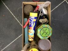 Box of Assorted Collectables including tins, badges and childrens' toys.