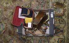 Box of Assorted Brass Ware, cameras etc