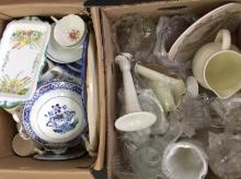 Two Boxes of Glassware and Pottery.