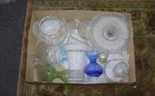 Box of Assorted Glass including cake stands, vases etc