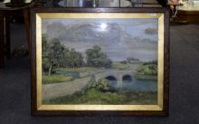 G Johnson Large Framed Landscape Watercolour countryside scene with river a