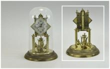 Schatz 400 Day Anniversary Clock with Glass Dome and Ornate Decorated Cream