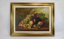 A. Pallade Late 20th Century Artist ' Fruits ' Stillife Oil on Canvas, Sign