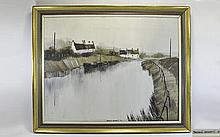 Terence Bennett 1935 - ' Thorne Locks ' Oil on Canvas, Signed and Dated 73.