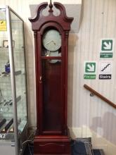 Modern Reproduction Grandfather Clock Pale grey plastic/resin exposed face.