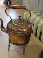 Antique Copper and Brass Handle Teapot with Brass Stand. Tea Pot 8.25 Inche