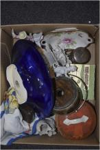 Box of Miscellaneous comprising Parian Ware, tube lined shallow bowl, metal