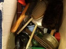 Box of Assorted Collectables including tins, shoe horns, dressing table ite