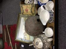 Box of Miscellaneous to include framed picture, tin, Mid Winter part teaset