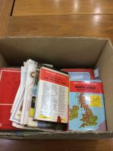 Box Of UK Road Maps Includes various OS maps and AA maps, various locations
