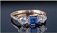 9ct Gold Set Three Stone Diamond And Sapphire