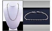 18ct White Gold And Diamond Necklace. Contemporary