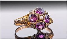 Victorian 15ct Gold Amethyst And Pearl Set Cluster
