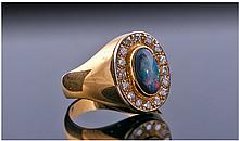 18ct Gold Black Opal And Diamond, Set with a