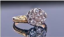 Late Victorian 18ct Gold Diamond Cluster Ring, Set