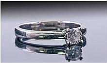 Ladies 9ct White Gold Set Single Stone Diamond