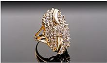 14ct Gold Diamond Cluster Ring, Set With Round