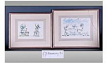 Charles Mackesy 1962 Pair Of Watercolours.