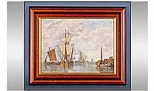 Interesting European 19th Century Dock Scene.