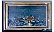 Keith Sutton 1924-1991 Trawler In Rough Seas Night