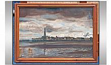 Unusual Oil Painting On Panel Of Blackpool At