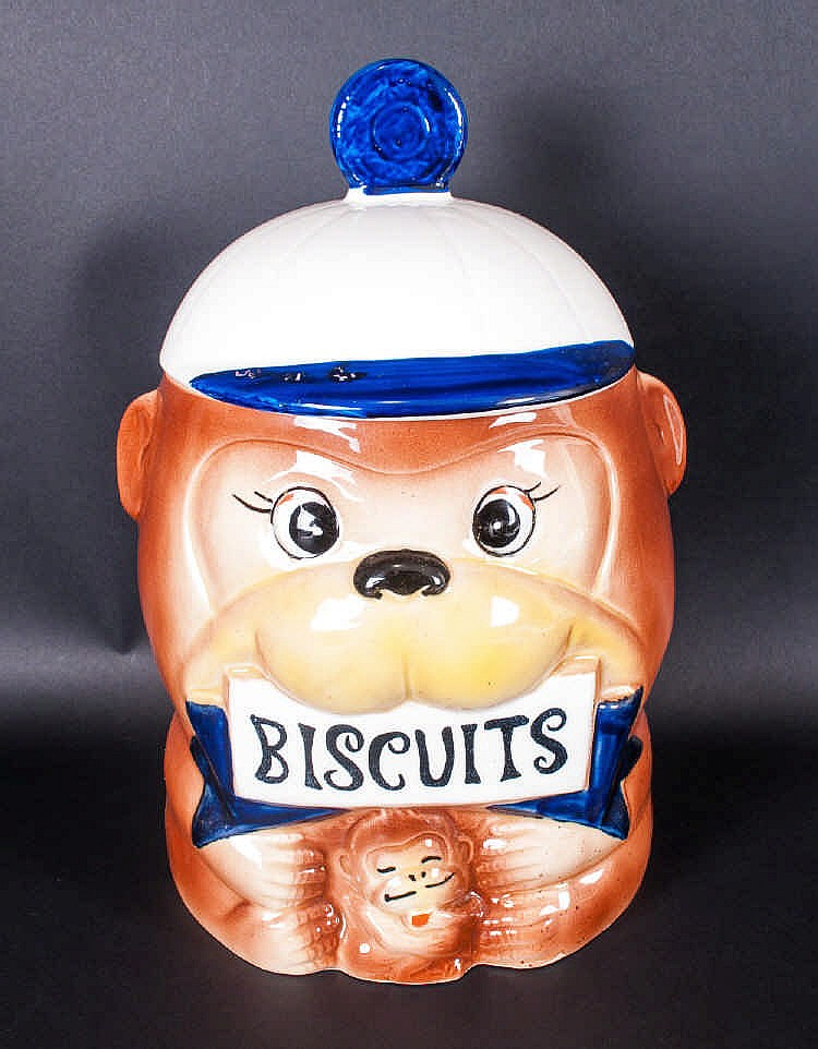 A Japanese Novelty Earthenware Lidded Biscuit Jar Complete