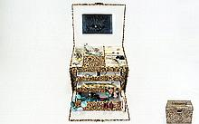Leopard Print Jewellery Box With A Variety Of Costume Jewellery Large 5 dra