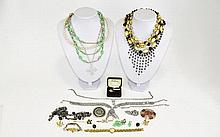 Collection Of Costume Jewellery Comprising Seiko Wristwatch, Brooches, Neck