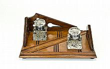 Edwardian Period Wooden Desk Top Ink Stand, Raised on 4 Ball Feet with Two
